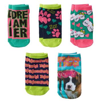 Pink Cookie 5-pk. ''Pajama Party!'' Dog No-Show Socks - Girls, Size: