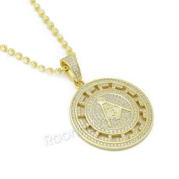 Sterling Silver .925 AAA Lab Diamond Freemason Masonic w/2.5mm Moon Cut Chain 51