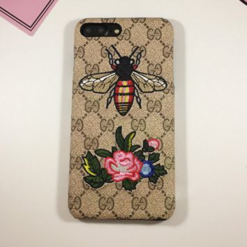 Gucci Fashion Bee Print Roses Embroider iPhone Phone Cover Case For iphone 8 8plus iPhone6 6s 6plus 6s-plus iPhone 7 7plus