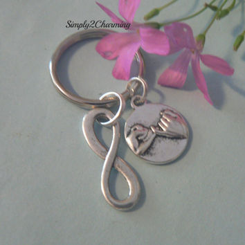 A Promise Forever Pinky Promise and Infinity Symbol KeyChain Best Friend Gift Love Friendship Hands Charm Pinkie Swear Key Chain Ring