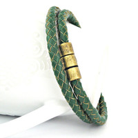 Forest green braided leather double wrapped bracelet with magnetic clasp
