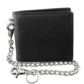 Guarantee ! Real Leather Wallet Purse for Mens With Security Chain