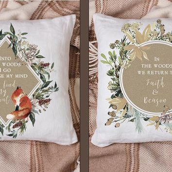 Woodland Watercolor Animals and Quotes Throw Pillow Series
