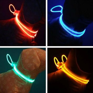 LED Pet Collar Adjustable Night Safety Pet Collar Luminous Light Up Pet Dog Bright Collar Leash