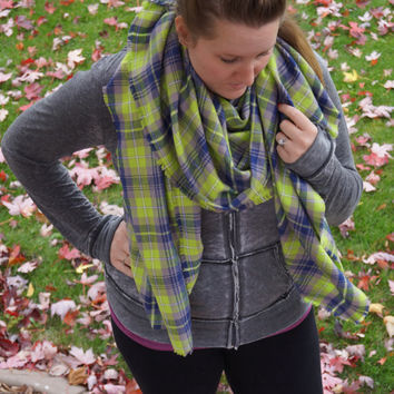 Lime & Navy Plaid Flannel Blanket Scarf Seahawks Plaid Infinity Scarf Womens or Girls Blanket Scarves Plaid Blanket Wrap Scarf Seattle Scarf