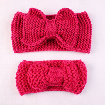 Mom and Me Knit Headbands Big Bow Headband Knit Earwarmer Baby Girl Headband Toddler Headband Gift Ideas - Listed Price is for 2 Headbands