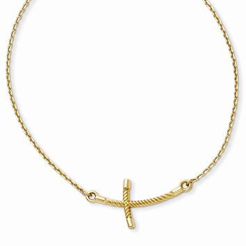 14K Yellow Gold Large Sideways Curved Twist Cross Necklace 19 Inch