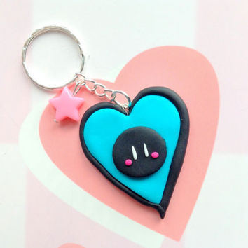 Clannad dango daikazoku -  Anime keychain - cute polymer clay charm - kawaii black blue bag charm