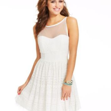 Crystal Doll Juniors' Lace Illusion Dress | macys.com