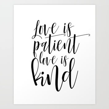 Printable Love Is Patient Love Is Kind Wall Art, Bible Verse Art Print, Nursery Wall Art Art Print by NikolaJovanovic