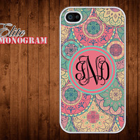 iphone 4 Case - iphone 4S Case Cover - plastic or silicone rubber - Monogram -circle indian pattern