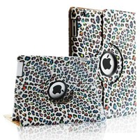 Fintie (Rainbow Leopard) 360 Degree Rotating Stand Smart Cover Leather Case for iPad 4th Generation With Retina Display, the new iPad 3 & iPad 2 (Wake/sleep Function)