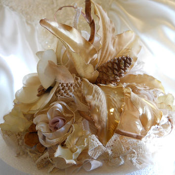 Rustic Vintage Style Lily Wedding Cake Topper with matching garlands. Coffee stained vintage lace, fabrics and natural botanicals.