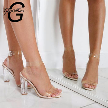 11cm Summer Women Sandals PVC Block High Heel Crystal Clear Transparent Sandals Concise Buckle Ankle Strap Pump Wedding Shoes