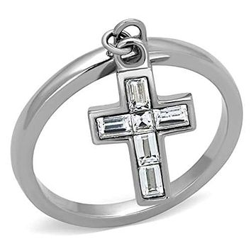 WildKlass Stainless Steel Cross Ring High Polished (no Plating) Women AAA Grade CZ Clear
