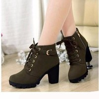 platform high heel single shoes vintage Women Motorcycle Boots Martin Boots,