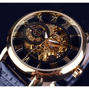 FORSINING 3d Logo Design Hollow Engraving Black Gold Case Genuine Leather Skeleton Mechanical Watches with Gift Box