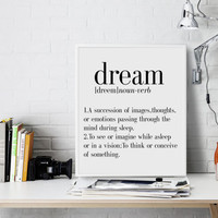 DEFINITION OF Dream definition Dream Typewritter Dream dictionary Scandinavian poster Scandinavian wall art Dream poster Dream wall art