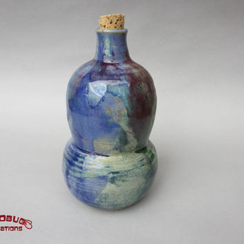 Bubbled Multicolor Corked Jar