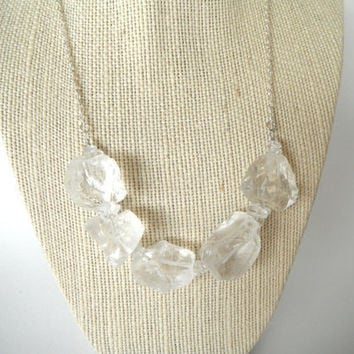 Crystal Clear Rock Crystal Quartz Nuggets and Crystals with Silver Chain  Necklace Gift fashion under 50