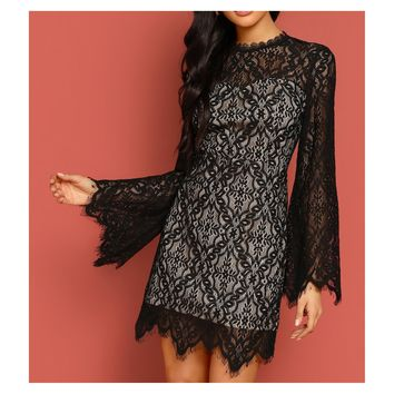 Black Long Sleeve Lace Overlay Cocktail Dress
