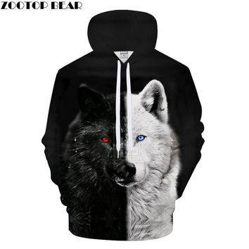 Ying and Yang Wolf Hoodies Streetwear Sweatshirt Casual Hoody Men 3D Pullover Harajuku Tracksuit Male HipHop DropShip ZOOTOPBEAR