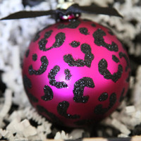 Leopard, Cheetah, Zebra glitter handmade ornaments- set of 4