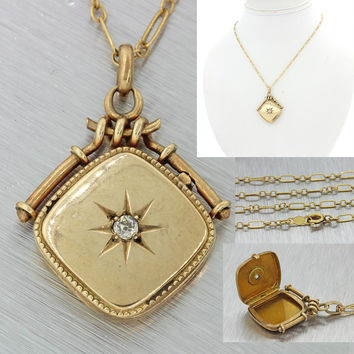 1890s Antique Victorian 10k Solid Gold .10ct Diamond Locket Pendant Necklace