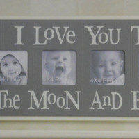 Gray Nursery Decorating Ideas - I Love you to the Moon and Back - Grey Nursery Wall Art Baby Sign 4x4 Picture Frame