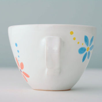 White ceramic handmade cup with flower pattern original unique cookware