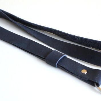 Leather lanyard, key ring lanyard, key ring lanyard, Leather Neck Strap, navy blue lanyard, key holder, navy blue keychain, leather keychain