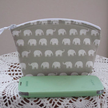 Tiny Elephants Cosmetic Bag Clutch Zipper Purse   Made in the USA Bridal Wedding Gray