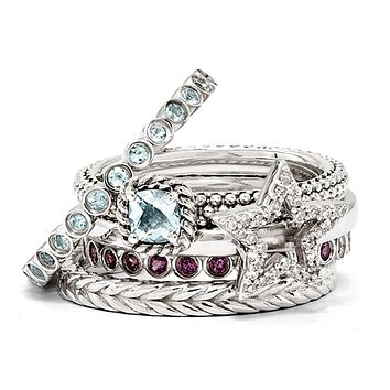 Sterling Silver Stackable Shining Diamond Star & Gemstone Ring Set