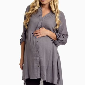 Grey-Button-Up-3/4-Sleeve-Maternity-Top