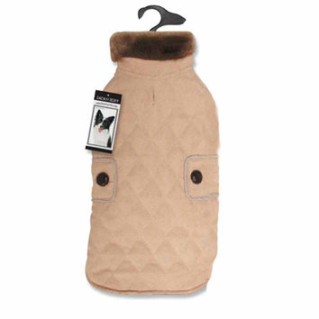 Zach and Zoey Derby Almond Quilted Dog Coat