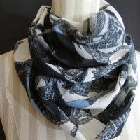 White and Gray Polyester Infinity Scarf |Womens Accessories |Fashion Scarves |Steampunk Scarf |Fashion Accessory |Grey White & Blue Scarves