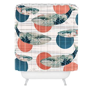 Belle13 Blue Whale Polka Shower Curtain