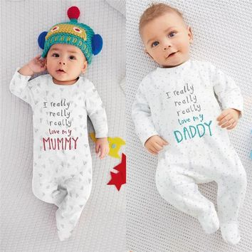 *Baby Clothes Baby Rompers I love Mum Dad Newborn Baby Boy Girl 100% Cotton Long Sleeve Letter Print Romper Sleepsuit