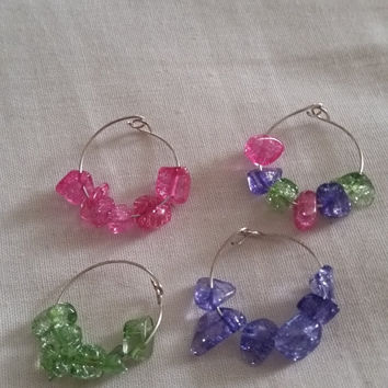 Set of Four 4 Wine Glass Charms Pink Purple Green Choose Your Favorites Party Wedding Dinner Party Get Together