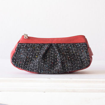 Makeup bag, cosmetic case in black wool and red leather