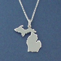 Pure Michigan Necklace Handcrafted Sterling Silver by Silver Loon