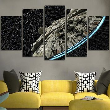 Star Wars Force Episode 1 2 3 4 5 Wall decor Canvas Picture  Batman Poster 5 Pieces Art Home Framed HD Printed canvas painting AT_72_6