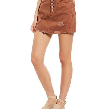 Free People Denim A-Line Distressed Frayed Hem Mini Skirt | Dillards