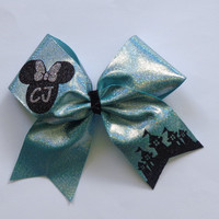 Disney Inspired Cheer Bow Minnie Mouse and Castle Choice of Colors Add Your Name