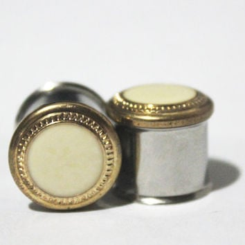 "Classic Gold And Cream Plugs 1/2"" 12mm 13mm"