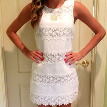 Women's Fashion Slim Round-neck Sleeveless White Lace One Piece Dress [5024163588]