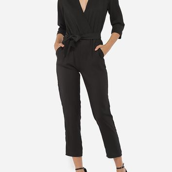 Casual Bowknot Pockets Dacron Plain Jumpsuits