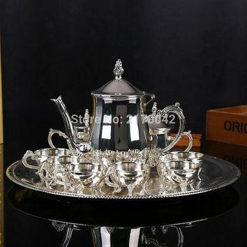 New Shiny Silver Finish Coffee Tea Milk Set High Grade Drinkware Wine Sets For Wedding Or Party 1 Set/4pcs