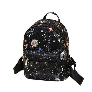 Women Black Backpack Cartoon Star Universe Space High Quality Small Youth Leather Backpacks For Teenage Girls Female School Bag