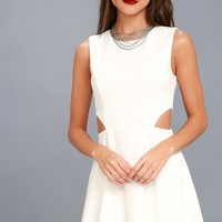 Toast to You White Cutout Skater Dress